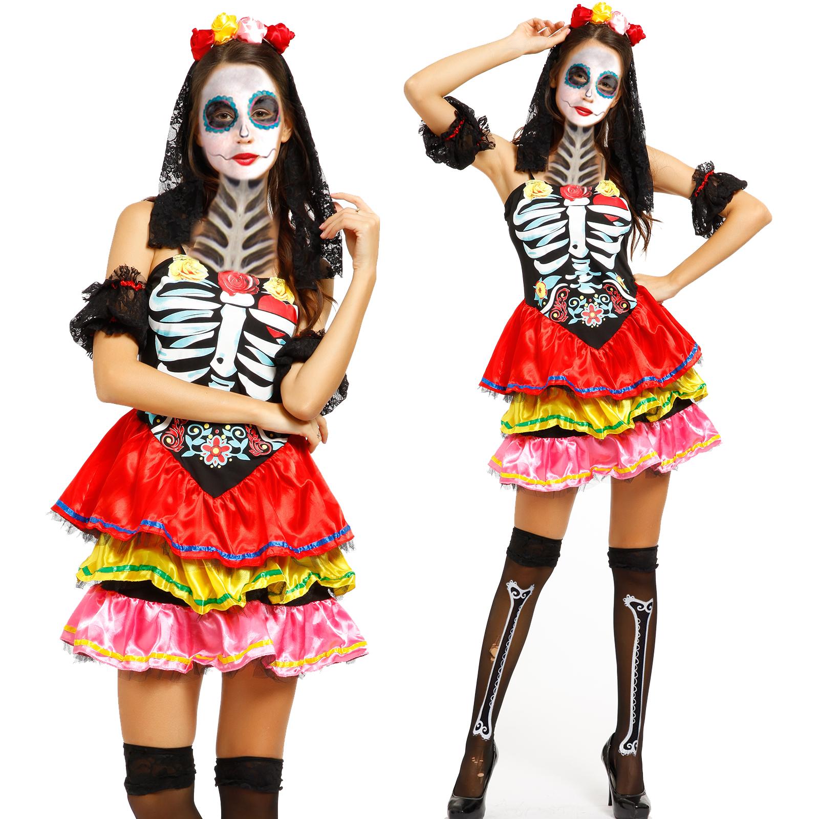 Ladies Horror Day of the Dead Senorita Fancy Dress Halloween Mexican Costume